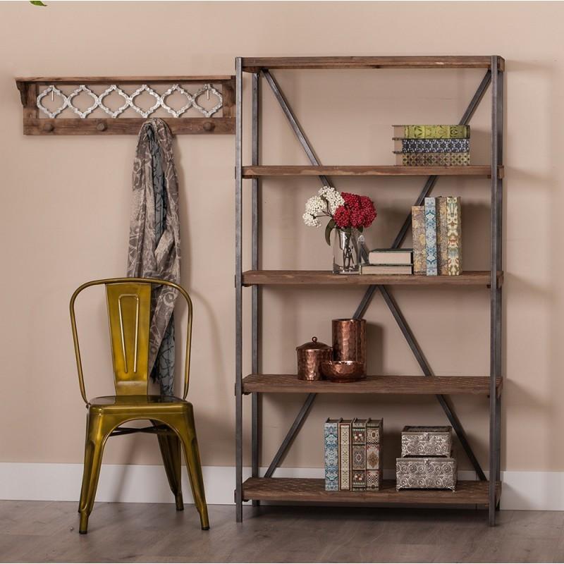 estantera librera metal madera