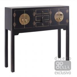 Consola oriental negro / oro