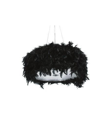Lámpara de techo con plumas negras